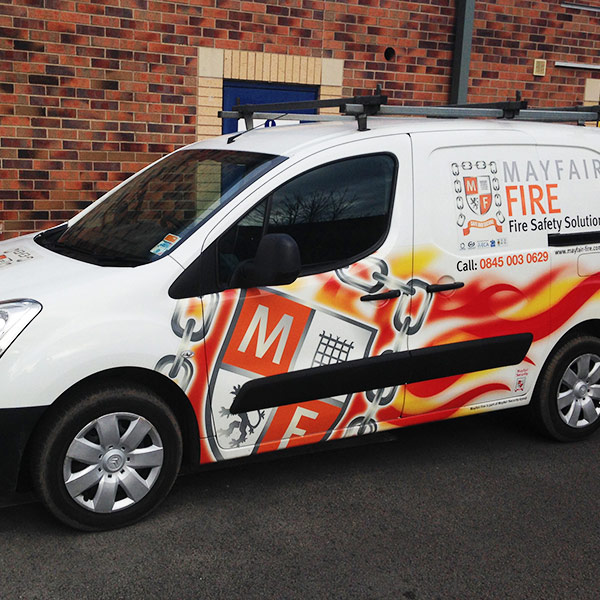 graphic design for mayfair fire vehicle