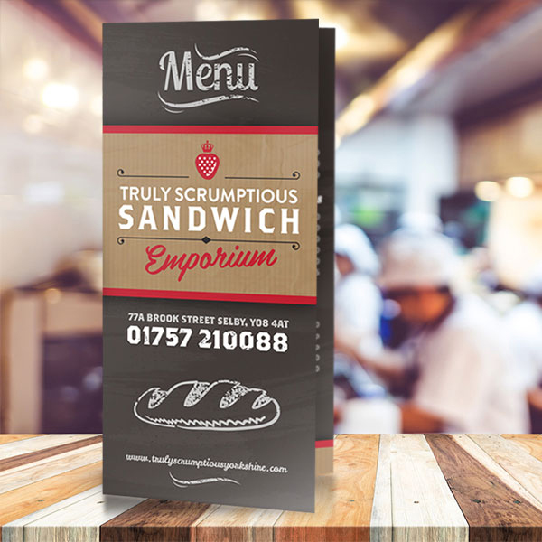 menu design for sandwich shop and cafe in selby