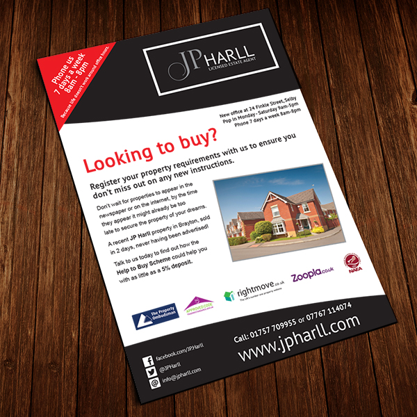 leaflet printing for jp harll selby