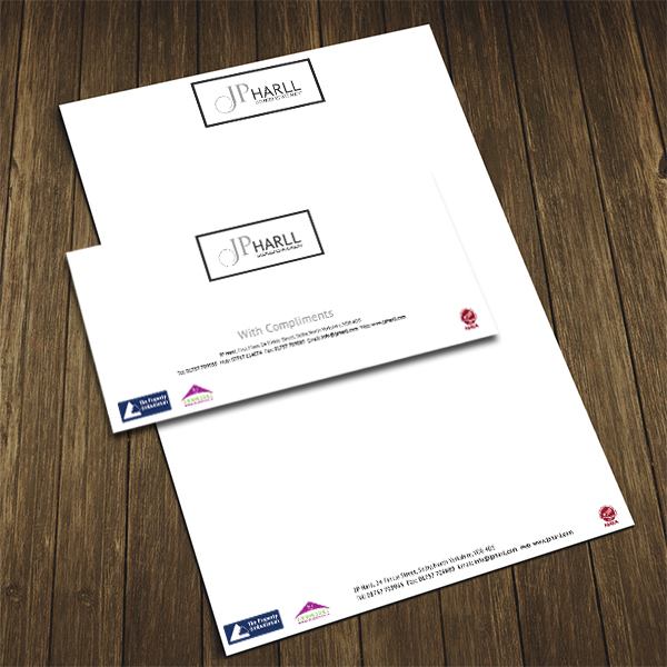 new business stationery printing for jp harll in selby